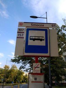 תחנת אוטובוס ברחוב סמוצ'ה, יולי 2019